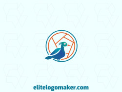 Logo available for sale in the shape of a duck with gradient style, with blue and orange colors.