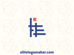 "Minimalist logo with a refined design, forming a letter ""E"" combined with a banner, the colors used was blue and orange."
