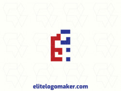 "Logo available for sale in the shape of a letter ""E"" combined with a letter ""G"", with a minimalist style with blue and red colors."