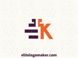 "Create a vector logo for your company in the shape of a letter ""E"" combined with a letter ""K"", with an abstract style, the colors used were orange and purple."