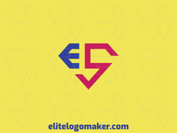 "Logo with creative design forming a letter ""E"" combined with a letter ""S"" with initial letter style and customized colors."