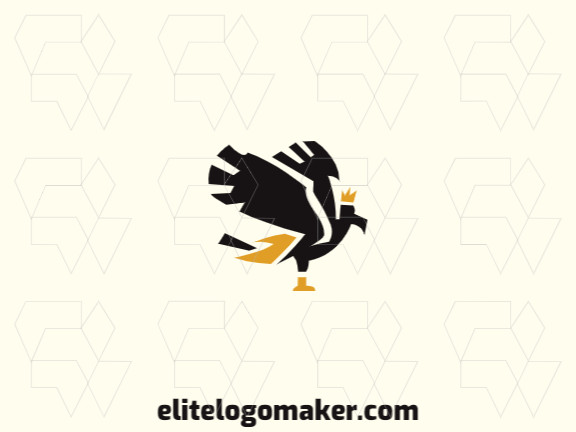Animal logo with the shape of a flying eagle composed of abstracts shapes with black and yellow colors.