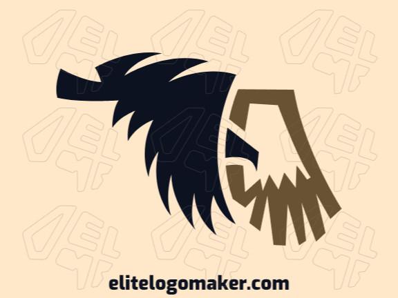 Logotipo vetorial com a forma de uma águia com design abstrato e cores preto e marrom.
