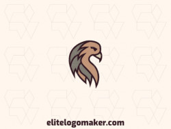Stylized logo design in the shape of an eagle head composed of lines and abstract shapes with gray, brown, and beige colors.