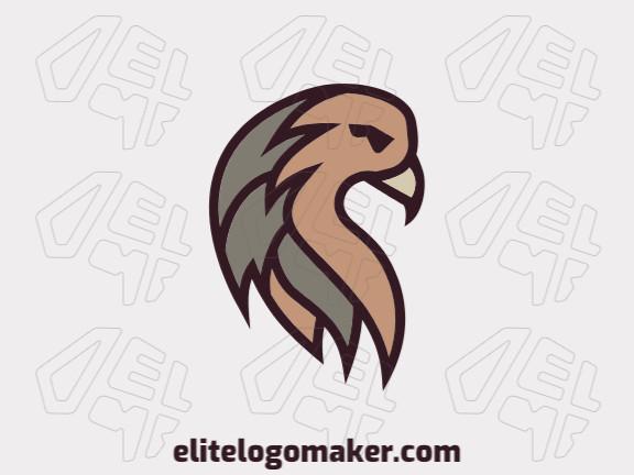 Logotipo abstrato com ideia criativa formando uma águia composto por formas abstratas com as cores marrom e amarelo.