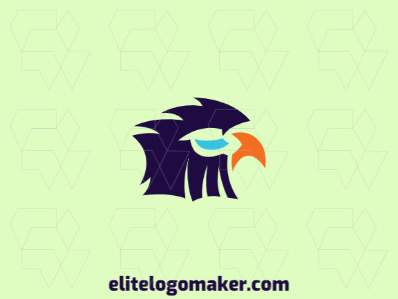 Vector logo in the shape of an eagle with abstract design with blue and orange colors.