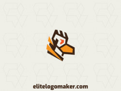 Minimalist logo in the shape of an eagle composed of abstract shapes and refined design, the colors used in the logo are brown, orange, and yellow.