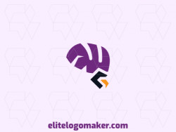 Logo design in the shape of an eagle combined with a brain with abstract design and purple, yellow, and black colors, this logo is ideal for any business.
