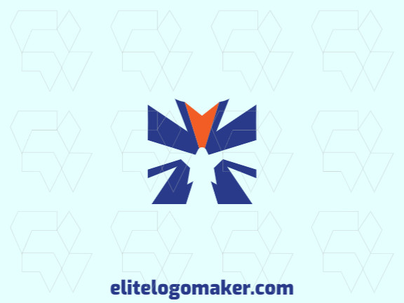 Minimalist logo design consists of the combination of an eagle with a shape of a star with blue and orange colors.