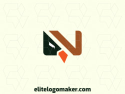 "Vector logo in the shape of an eagle combined with a letter ""v"" with minimalist design with brown, orange, and black colors."
