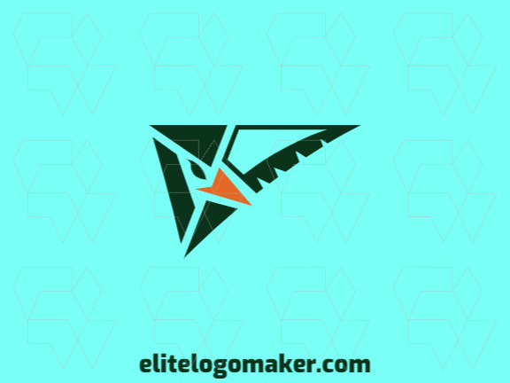 Simple logo composed of abstract shapes forming an eagle with green and orange colors.
