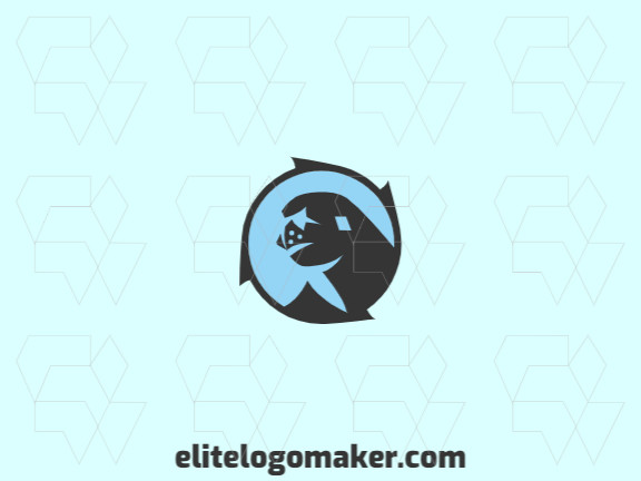 Animal logo design composed of a circle and abstract shapes forming an earless seal with blue and black colors.