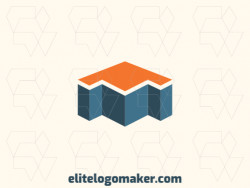 Simple logo design consists of the combination of a house with a shape of an arrow with blue and orange colors.