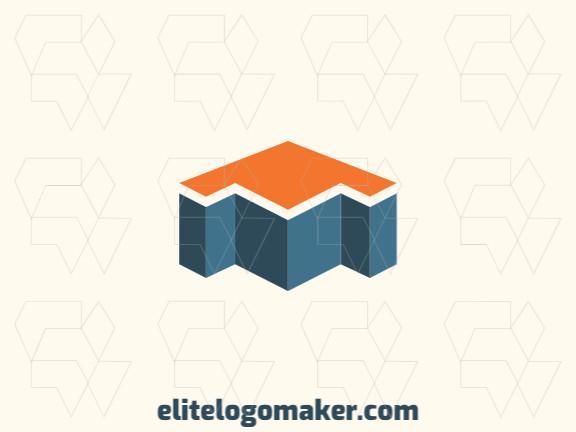 Logotipo profissional composto por formas estilizadas formando uma casa combinado com uma seta com design minimalista, as cores utilizadas foi azul e laranja.