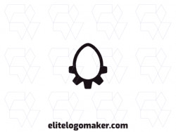 Logo available for sale in the shape of an egg combined with gear, with minimalist style and black color.