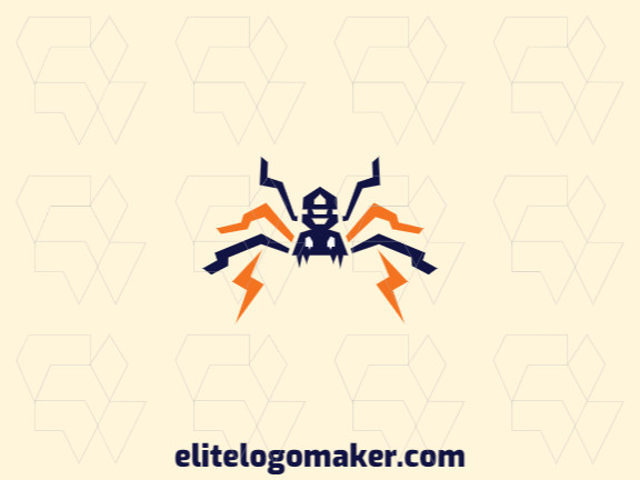 Abstract logo with the shape of a spider combined with lightning bolts with orange and blue colors.