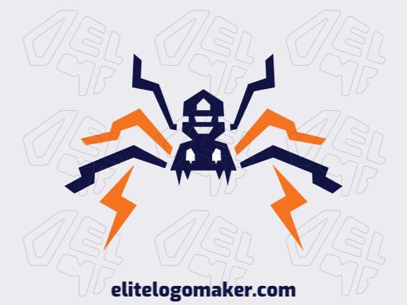 Logotipo único com a forma de uma aranha combinado com raios com conceito criativo e design abstrato.