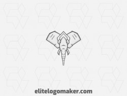 Ideal logo for different businesses in the shape of an elephant, with creative design and symmetric style.