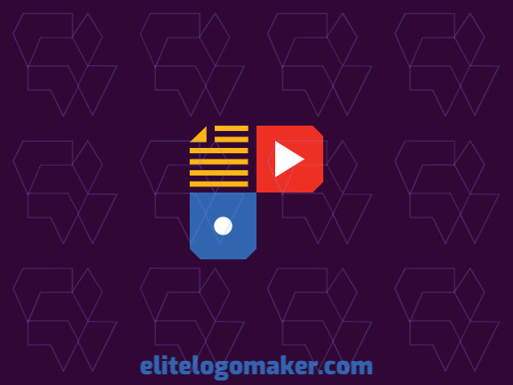 Minimalist logo in the form of a domino combined with a document and a play icon composed of abstract shapes and refined design with yellow, red, and blue colors.
