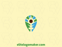Abstract logo in the shape of a leaf combined with a sword and a map icon composed of abstract elements with blue, green, and brown colors.