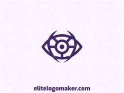 Customizable logo in the shape of an eye composed of an abstract style and purple color.