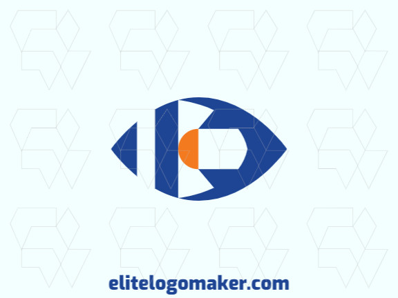 Minimalist logo in the shape of an eye composed of abstracts shapes with blue and orange colors.