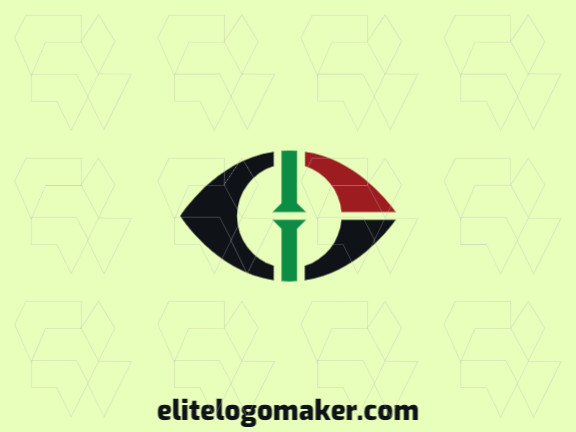 Minimalist logo design in the shape of an eye combined with a flag with black, red and green colors.