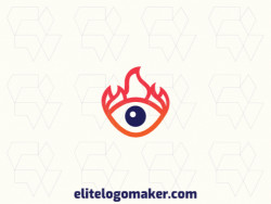 Abstract logo with a refined design, forming an eye combined with a flame, the colors used was blue and orange.