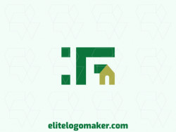 "Creative logo in the shape of a letter ""F"" combined with a house, with a refined design and minimalist style."