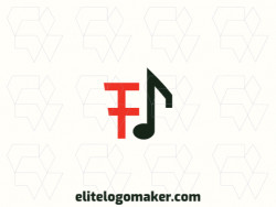 "Modern logo in the shape of a letter ""F"" combined with a musical note, with professional design and minimalist style."