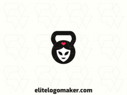 Logo available for sale in the shape of a face combined with a kettlebell with an abstract style.