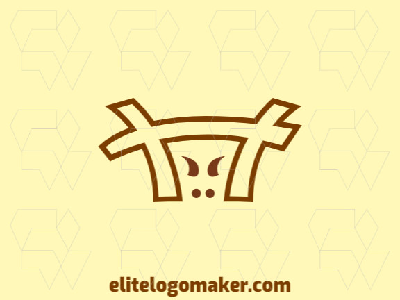Animal logo design with the shape of a fence combined with a cow with yellow and brown colors.