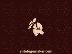 Animal company logo in the shape of a fierce dog composed of abstracts shapes with beige colors.