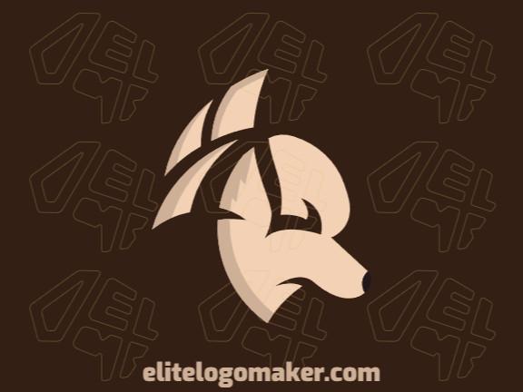 Logotipo abstrato com formas sólidas formando um cachorro com design refinado e cor bege.