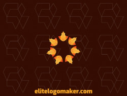 Gradient logo design with the shape of seven arrows rotating with orange, yellow and black colors.