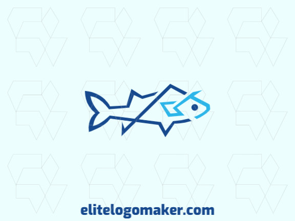 Abstract logo design with the shape of a fish with abstract style and blue color.