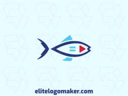 Simple logo composed of abstract shapes forming a fish with blue and red colors.