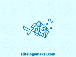 Ideal logo for different businesses in the shape of a fish, with creative design and monoline style.