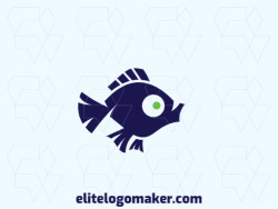 Logo available for sale in the shape of a fish, with childish style, with green and blue colors.