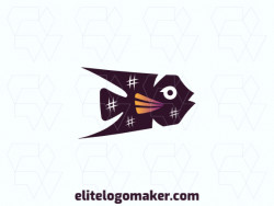 Vector logo in the shape of a fish, with abstract style, with orange, black, and purple colors.