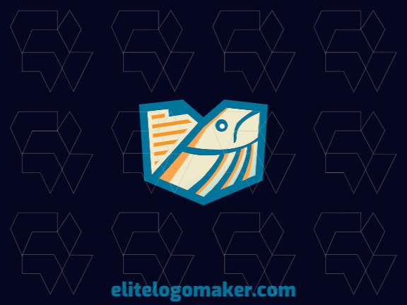 Logotipo moderno com design criativo formando um peixe mesclado com um documento com as cores laranja, bege, e azul.