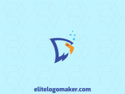 Animal logo with the shape of a fish combined with an eagle composed of solid shapes with blue and yellow colors.