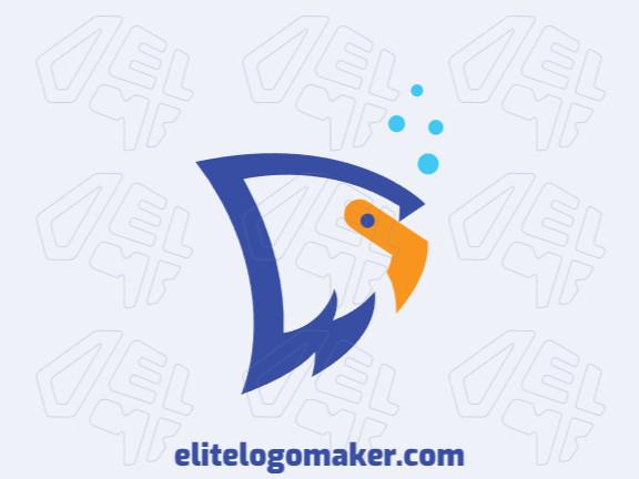 Logotipo único com a forma de uma águia mesclado com um peixe com conceito criativo e design abstrato.