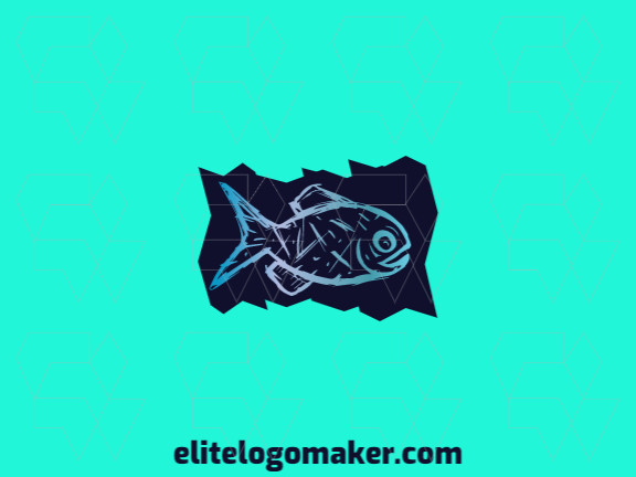 Create a logo for your company in the shape of a fish with a gradient style with blue and purple colors.