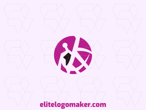 Elegant logo with abstract shapes forming a flamingo with a circular design with pink and black colors.