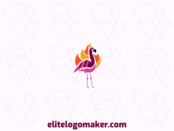 Vector logo in the shape of a flamingo combined with fire with an abstract design, the colors used is orange, purple, black, pink, and yellow.