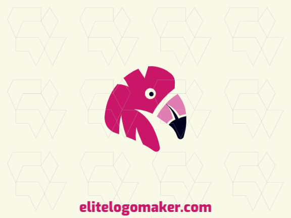 Abstract logo with the shape of a flamingo head with pink and black colors.