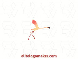 Stylized logo in the shape of a flying flamingo composed of abstracts shapes with red yellow and black colors.