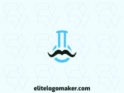 Minimalist logo with a refined design, forming a flask combined with a mustache, the colors used was blue and black.