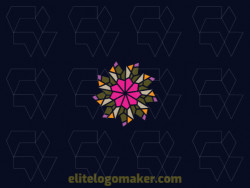 Mosaic logo design in the shape of a flower composed of abstracts shapes with green, yellow, purple, and pink colors.